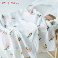 120*120cm Baby Cotton Blanket Bamboo Fiber Kid Swaddle Muslin Wrap Breathable