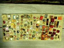 More details for the collection lot of soviet russian pin badges on a canvas approx 120 pcs