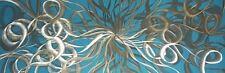 Moderno Abstracto Arte de pared de metal, obras de arte, Escultura dos veces confundido Plata en Verde Azulado