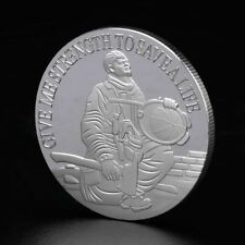 Firemen Hero Fire Control Save Life Commemorative Coin Souvenir Gifts Silver
