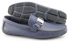 Men's SALVATORE FERRAGAMO 'Sardegna' Blue Marine Leather Loafers Size US 12 - D