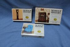 House of Miniatures 3 Kits, Chippendale Wing Chair, Tall Case Clock, Desk
