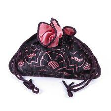 Pink satin black lace fabric drawstring handbag makeup bag coin purse costume
