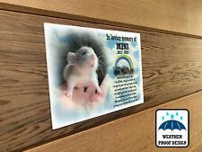 Personalised pet Mouse memorial plaque, Bench plaque, Grave marker plaque.