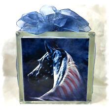 Patriotic Horse Glass Block Light