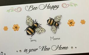 Handmade Personalised 'BE HAPPY' New home card