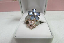 Beautiful  Sterling Silver 925 w/ Flower Design Stones Ring Size 6 ab17
