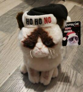 """Grumpy Cat Gund Ho Ho No Black Christmas Hat 11"""" Plush w/Tag"""