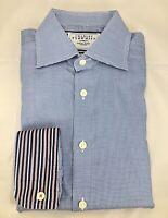 Charles Tyrwhitt Men's 15 33 Check Shirt Long Sleeve Button Up Blue, Flip Cuff