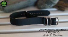 Black Waterproof Rubber Diver NATO ZULU watch strap PVD Brushed Polished Brass