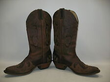 Boulet Canada Brown Inlay Two Tone Leather Ladies Western Cowgirl Boots 9 Cowboy