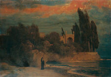 Oil painting Arnold Böcklin - Villa by the Sea woman by beach landscape at dusk