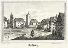 PURSCHWITZ (KUBSCHÜTZ) - Dorfmitte mit Kirche - Lithografie 1840