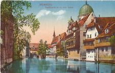 Nürnberg, Insel Schütt mit Synagoge, Ak mit Stempel Bahnpost Nürnberg-Saalfeld