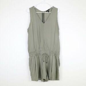 rag & bone Silk Romper Womens 10  Olive Green V-Neck Sleeveless Drawstring Waist