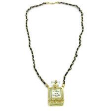 CHANEL Vintage CC Perfume Bottle Gold Chain Pendant Necklace Authentic AK25773d