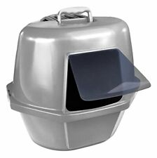 Corner Enclosed Cat Pan, Silver, Large (Cp9) New Freeshipping