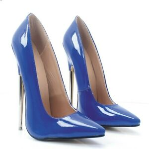 Ladies 18CM Stiletto Heel Pumps Nightclub Party Pointy Toe Patent Leather Shoes