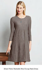 Eileen Fisher GRAY Wool  Scoop Neck Pleated  Ribbed Tunic Dress PP $278