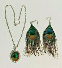 PEACOCK FEATHER Pierced Dangle Earrings & Altered Art Pendant Necklace EUC