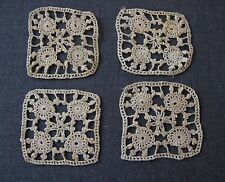 4 ANTIQUE FLOWERS LACE APPLIQUES FOR DOLLS OR CRAFTS  UNUSED  #5225