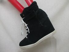 STEVE MADDEN Black Suede Lace Up Hidden Wedge High Heel Ankle Boots Size 9 M