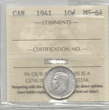 **1941**, ICCS  Graded Canadian,  10  Cent, **MS-64**