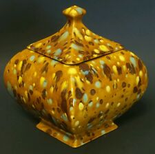 *Vintage* Drip Pottery Ceramic Square Candy Dish w/ Lid - Teal Yellow Brown Tan