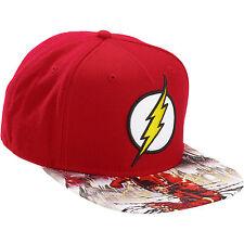DC Comics Flash Mens Adjustable Snapback Hat Cap Printed Flat Bill Brim