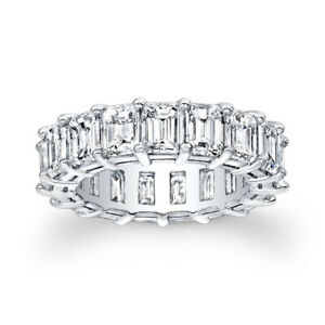 2.04 Ct Emerald Cut Diamond Eternity Engagement Ring 14K White Gold Size L N O P