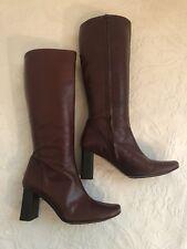"Banana Republic Size 7 Burgundy Leather Knee 3"" High Block Boots"