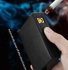 Metal Cigarette Case Dispenser Tobacco Storage Box Holder Windproof USB Lighter