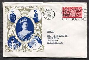 p297 - GB 1953 QE2 Coronation FDC Cover. Windsor Slogan Cancel. Sent to Canada