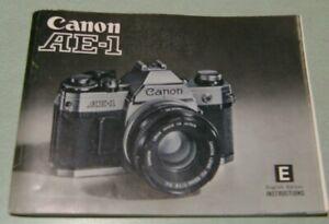 Original Instruction Manual for Canon AE-1 Camera