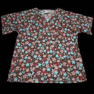 UA Brown Floral Star Fall Autumn Size Medium Scrub Shirt Nurse Vet Xray Tech