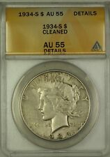 1934-S Silver Peace Dollar $1 Coin ANACS AU-55 Details Cleaned