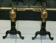 Old Vintage Federal Style Iron/Brass Urn Fireplace Andirons marked Wilshire H.S.