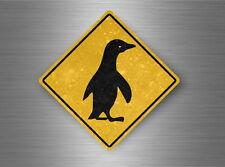 Autocollant sticker laptop macbook panneau route attention pingouin manchot