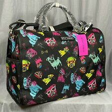 Betsey Johnson Pug Dog Print Nylon Weekender Overnight Bag Luggage Crossbody NEW