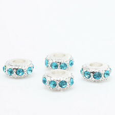 10pc New Silver Plated Blue Rhinestone Alloy Charms Bead Fit European Bracelet D