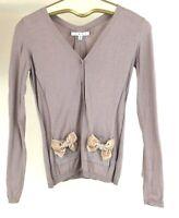CAbi #495 Velvet & Glitter Accent Bow Cardigan Dusty Lilac 100% Cotton Sz XS