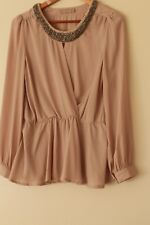 FORCAST sz 14 Taupe Nude Beige Blouse Top