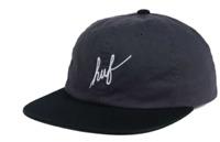 HUF Script Logo Washed Gray Black Strapback Adjustable Cap Hat Msrp $37 C