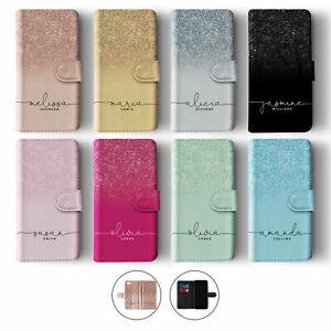 Tirita Personalised Flip Case for Samsung S20 S10 S9 S7 Glitter Ombre Faded