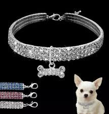 Pet Cat Dog Puppy Elasticated Collar Necklace Party Charm Rhinestone Diamante!