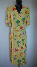 CHICOT Yellow Floral Tea Dress Front Button Fastening Belted Dress Size 12 New