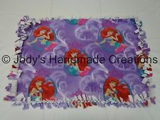 HANDMADE BABY / PET FLEECE TIED SECURITY BLANKET - DISNEY LITTLE MERMAID 18 X 25