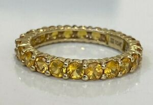 10K Solid gold & yellow Citrine full eternity band ring 3.0g size P 1/2 -  7 3/4