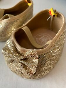 BAB Build A Bear Workshop Gold Glitter Bows Flats Shoes Retired