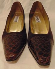Women's Pancaldi Brown Leather & Suede Dress Shoes Pumps Heels Size 10 AA Italy